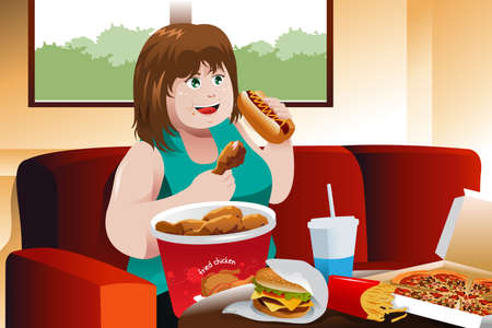 A vector illustration of overweight woman eating fast food