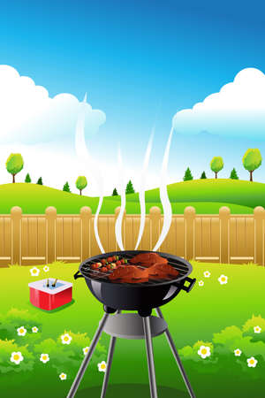 illustration of barbeque party poster design Иллюстрация