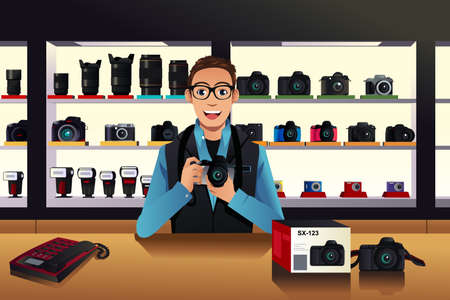 A vector illustration of store owner in a camera store