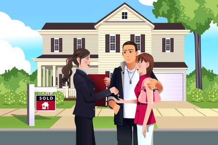 illustratie van de makelaar in de voorkant van een verkocht huis met haar klant