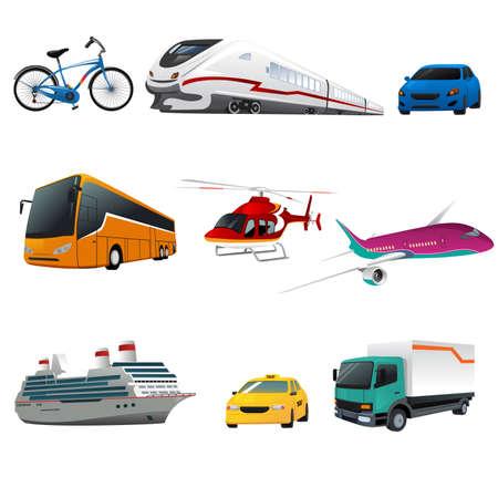 運輸: 說明公共交通圖標 向量圖像