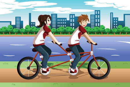 illustration of young couple riding a tandem bike Vector