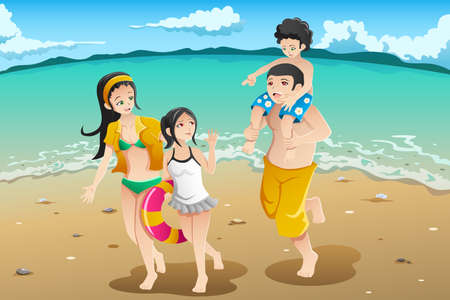 family holiday: illustration of happy family going to the beach