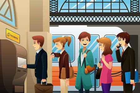 illustratie van de mensen die het kopen treinkaartje in een kiosk