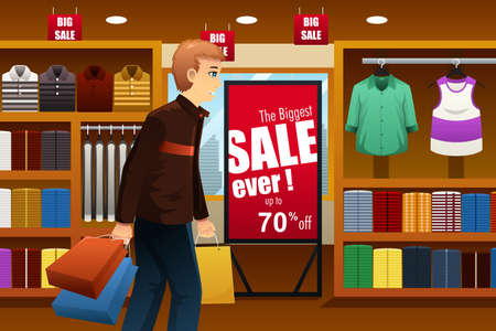 clipart: ilustración del hombre de compras en una tienda de ropa en el interior de un centro comercial