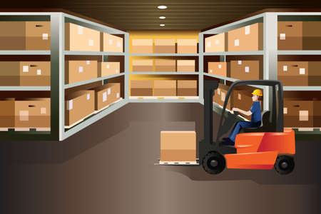 storage warehouse: illustration of worker driving a forklift in a warehouse