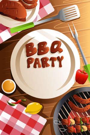 steak plate: ilustraci�n de barbacoa dise�o del cartel del partido