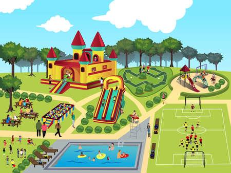 familia pic nic: ilustraci�n del mapa del parque Vectores