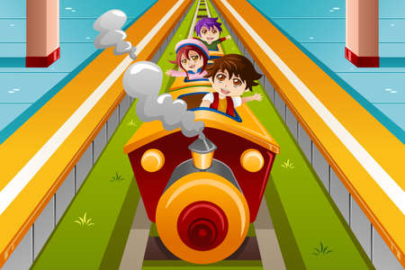 A vector illustration of happy kids riding a train