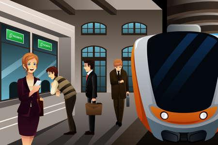 키오스크에서 승차권을 구입 사람들의 그림 스톡 콘텐츠 - 28416241
