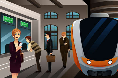 illustration of people buying train ticket in a kiosk