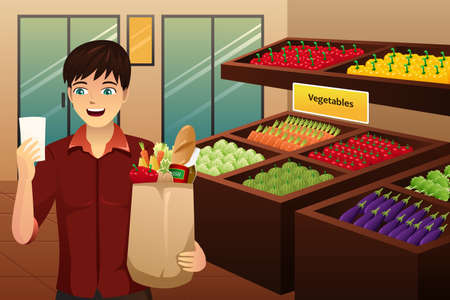 illustration of man shopping at the grocery Illustration