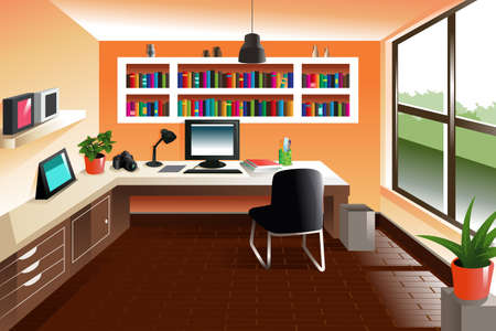 computer chair: illustration of modern looking workspace desk Illustration