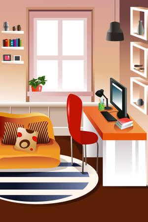 espacio de trabajo: ilustraci�n de la moderna �rea de trabajo de escritorio mirando
