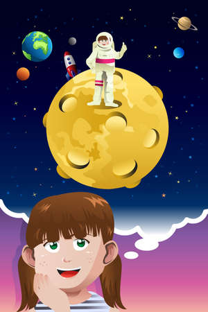 illustration of cute young girl aspiring to be an astronaut going to the moon Vector