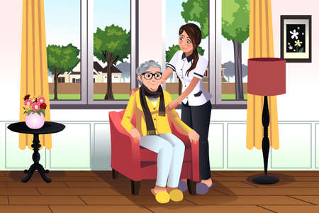 nurse home: illustration of young woman taking care of a senior lady