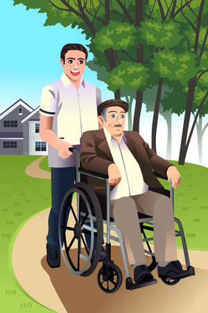 nurse home: illustration of a young man pushing a senior man in a wheelchair