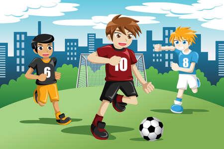 サッカーをして幸せな子供たちのイラスト
