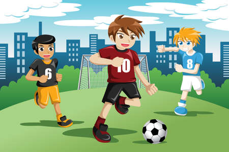 kids football: illustration of happy kids playing soccer