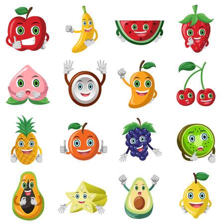 illustratie van leuke fruit karakter icoon sets