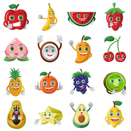 illustration of cute fruit character icon sets Vector