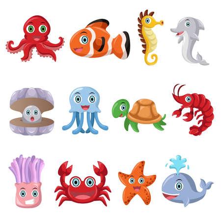 illustratie van zeedier icoon sets