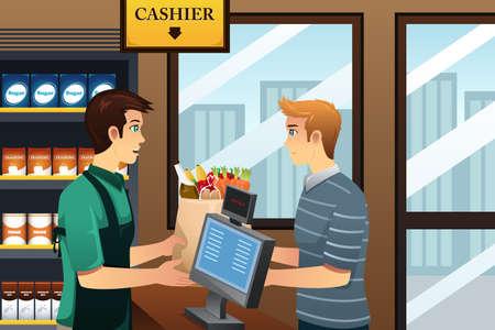식료품에서 젊은 남자 쇼핑의 그림 일러스트