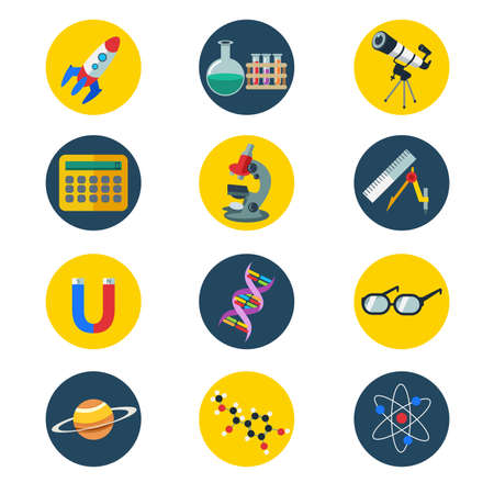 science icons: illustration of science icons in flat style