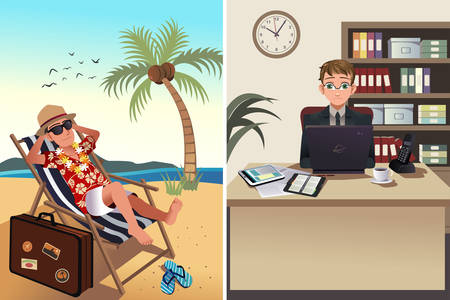 young businessman: illustration of one person going to work while the other one going on a vacation concept Illustration