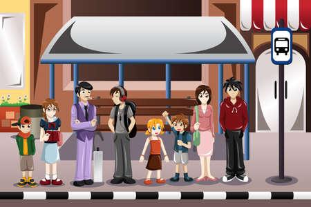 parada de autobus: Ilustración de las personas que esperaban el autobús en una parada de autobús