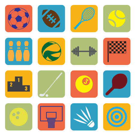 illustration of sport icons in flat style Vector