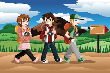 illustration of children carrying camera and backpack going on an adventure Vector