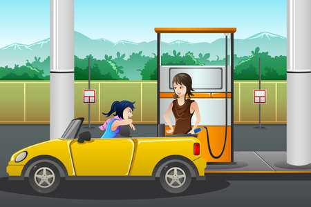refuel: illustration of a young woman  filling up gasoline at the gas station