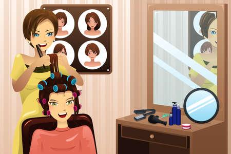 peluqueria: ilustración del estilista que trabaja en un salón de