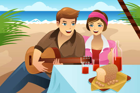 happy couple beach: illustration of happy couple having picnic on the beach