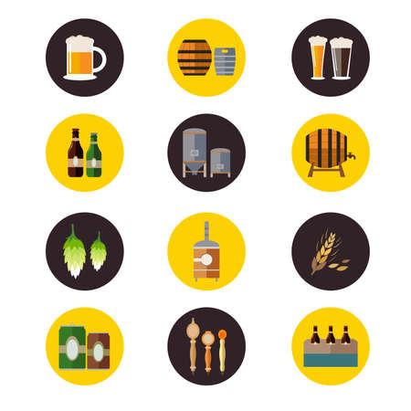 brewery  hops: illustration of brewery icon sets