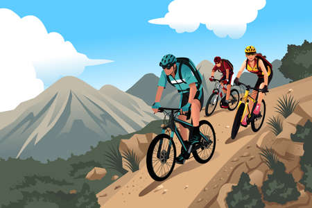 illustratie van de mountainbikers in de bergen Stock Illustratie