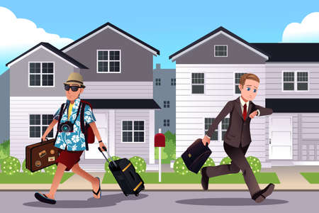 illustration of one person going to work while the other one going on a vacation concept Çizim