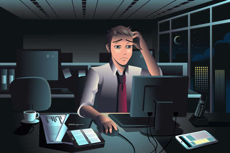 illustration of tired businessman working late at night in the office Vector