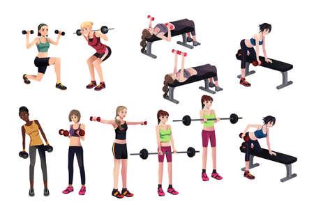 lunges: ilustraci�n de hermosas mujeres hace ejercicio con pesas Vectores