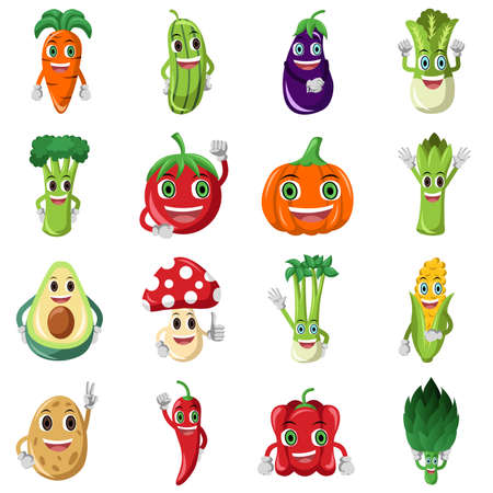 illustration of cute vegetable character icons Çizim