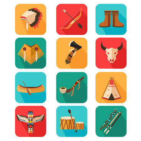 An illustration of Native Americans icon sets Vector