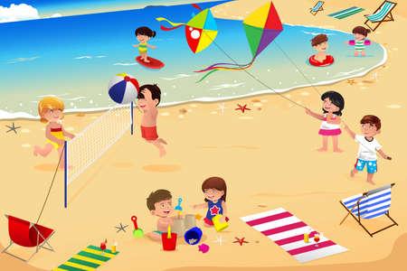 lazer: Uma ilustração de crianças felizes se divertindo na praia