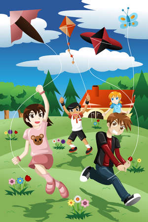 An illustration of active kids flying kite in the park Vector