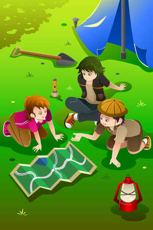 An illustration of happy kids having summer camp Vector