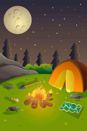 bonfire: An illustration of youth summer camp poster design with copyspace