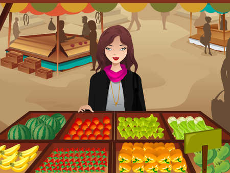 An illustration of beautiful woman shopping at a farmers market Ilustração