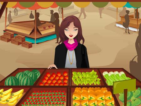 mercado: Uma ilustração de mulher bonita compras em um mercado de agricultores