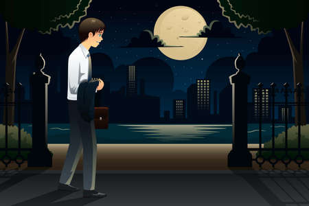 coming home: An illustration of businessman coming home late from work