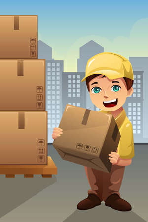 An illustration of delivery man in the city Banco de Imagens - 29028705